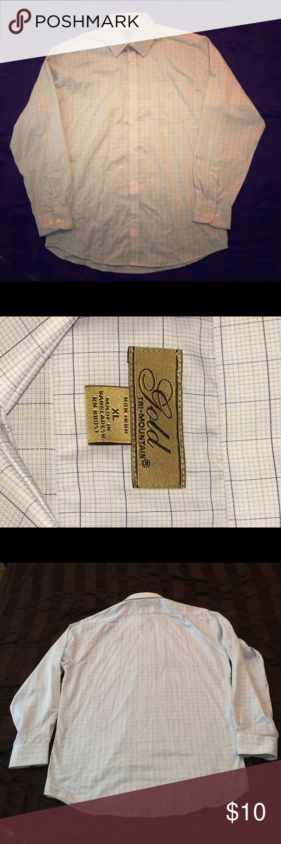 No-Iron Men's Dress Shirt New & never worn!  No ironing required for this long-sleeved men's button-down dress shirt by Gold Tri-Mountain!  White with navy/light blue/light gray square pattern.  Light weight fabric (100% cotton).  Could dress up for work or dress down with a pair of jeans for a casual look. One front pocket. Gold Tri-Mountain Shirts Dress Shirts