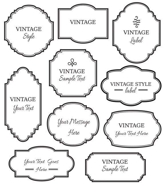 Vintage Labels Clip Art // Digital Frame // Vector EPS Editable // DIY Cards Invitation // Printable // Instant Download // Black White