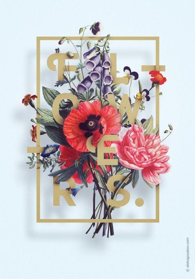 Digital Typography enterlaced with hand drawn flower illustrations. 3 Posters by Aleksander Gusakov