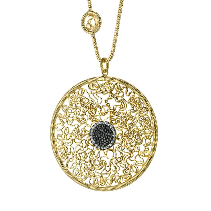 Oxette Gold plated Necklace with crystals - Available here: http://www.oxette.gr/kosmimata/kolie/necklace-cyrcle-wire-deco-crystal-s.silver-gold-290l-1/