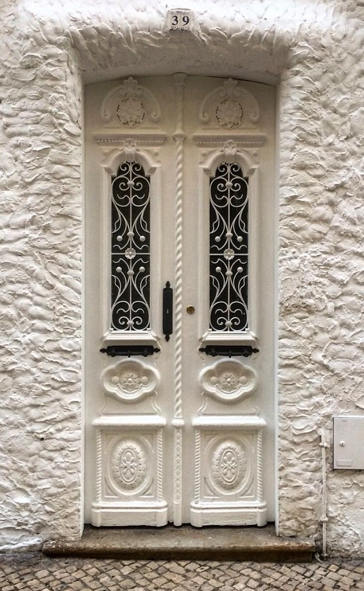 Portimão, Faro, Portugal, white entrance, carved wooden door, doorway, lovely, gorgeous, beauty
