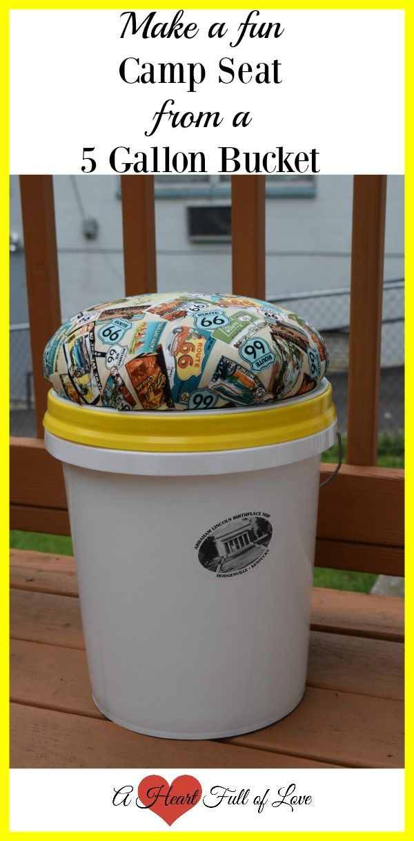 Make a fun camp seat from a 5 gallon bucket. You can sit on it by the campfire and it also stores clothes for your trip. Learn how to make one here!