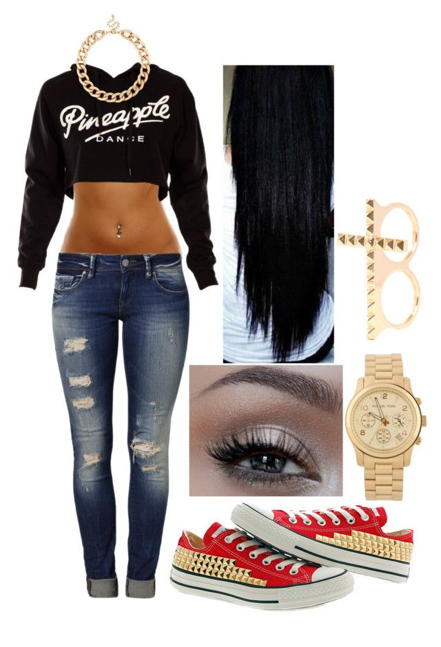 """Gold"" by swaggy-baby101 ❤ liked on Polyvore featuring Mavi, Converse, Urban Decay, Michael Kors, MOOD and 2b bebe"