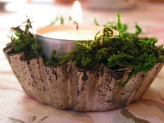 Tea light in a vintage jello mold with greenery, A sweet table addition for each place setting.
