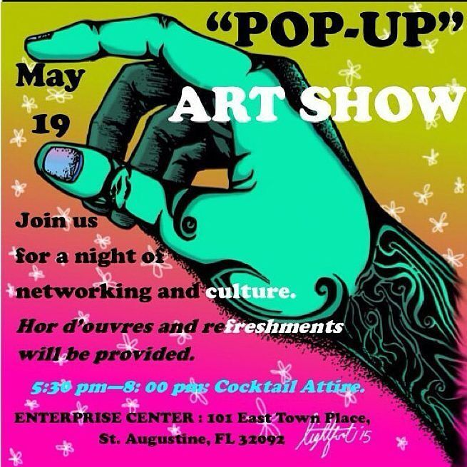 #meetup @ameliacre  Come to our pop-up art show on May 19! #networking #staugustine #jacksonville #artists #culture #smallbusiness #marketing #supportssmallbusiness #mixer artwork by @lightfootloose #worldgolfvillage