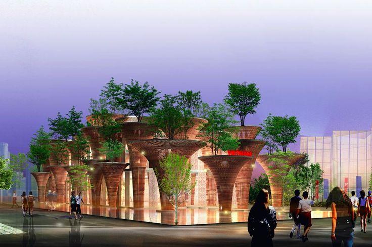Perfect bamboo columns of Vietnam Pavilion rised at Expo Milano 2015