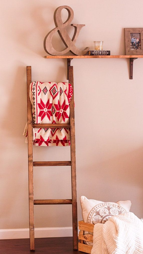 6 Ft Minimalistic Blanket Ladder by StixHomeGoods on Etsy