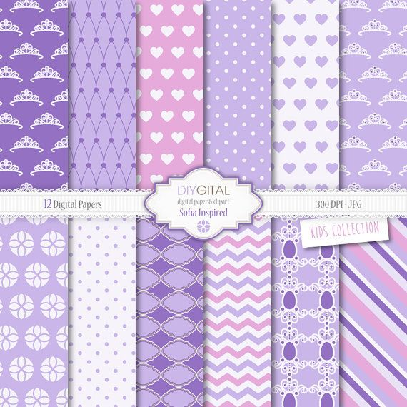Sofia The First Digital Paper Set- Princess Sofia inspired digital papers with crowns, amulet, chevron, polka dots, hearts
