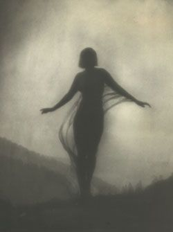 Anne Brigman The Breeze.  was interested in natural images, including seascapes and trees gnarled and transformed by the elements, and in the female form in the natural landscape.