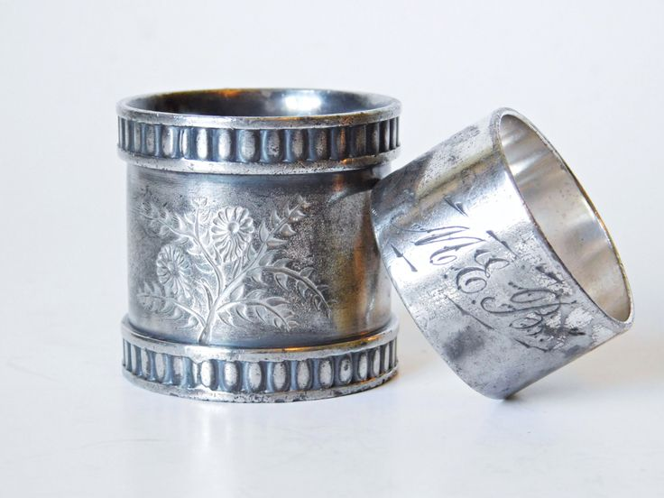 Antique Mismatched6. Silver Napkin Rings, Silver Plated Napkin Rings, Engraved with Floral Motif, Monogrammed Victorian Napkin Ring by LavishMaidenVintage on Etsy