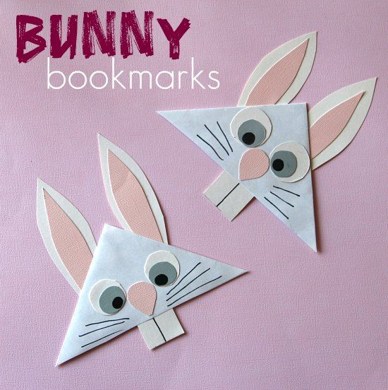 Bunny Bookmark  I made these with a first grade class and they went over VERY well!  We used googly eyes...since they're just fun.  ;-)  This would be an awesome way to use up some of the junk mail envelopes that parents get in the mail, to incorporate a reuse lesson, too!