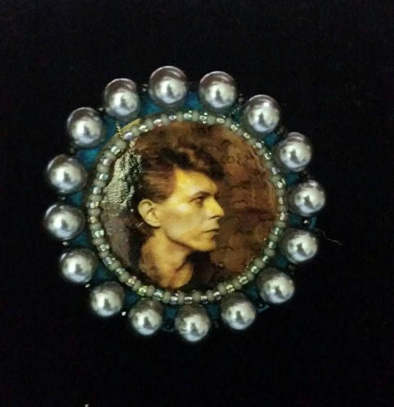 David Bowie Heroes Brooch  handcrafted one of a kind