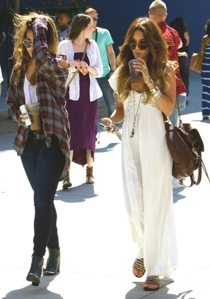 Vanessa Hudgens, boho, maxi dress, long hair, sunglasses, white top, oversized shirt