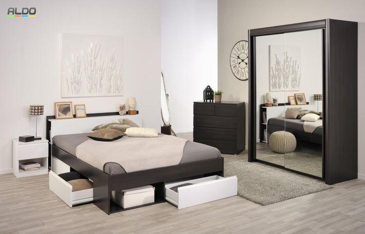 Moderní řešení ložnice se skříní a postelí