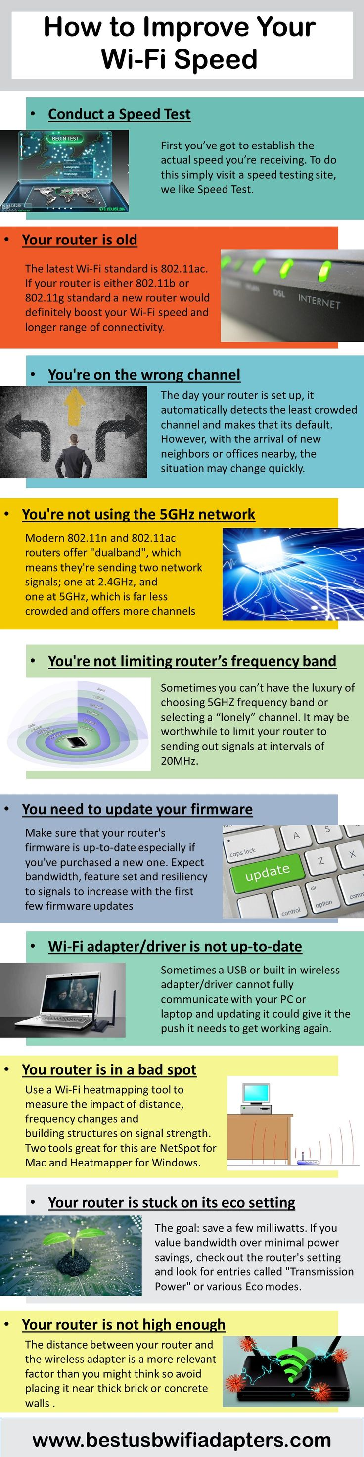 Slow wifi signals may panic you sometimes. In this infographic, I have shown you ten steps for improving wifi signals. Follow these steps to speed up your internet and boost #wifi signal strength. http://www.bestusbwifiadapters.com/