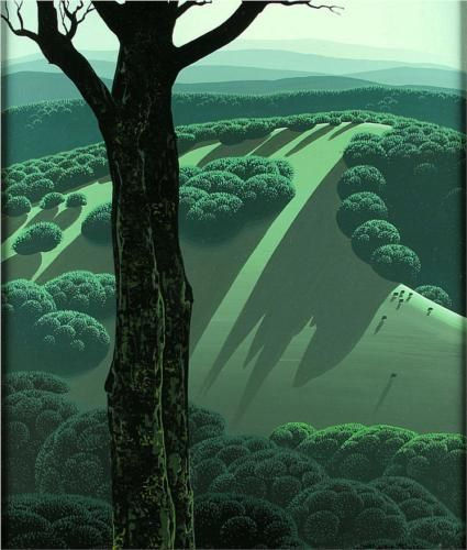"simplifying & abstracting landscape painting to perfection: ""Green Hillside"" by Eyvind Earle: Greenhillside, 1970, Artists, Earl 19162000, Illustrations, Eyvind Earl, Landscape, Green Hillside, Wikiart Org"