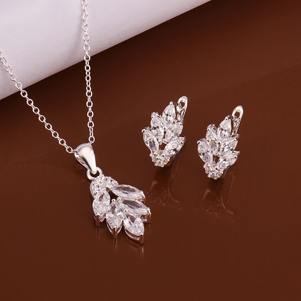 2016 New Trendy Women Korean Style bridal 925 stering silver jewelry new arrival flower necklace earring set high quality S619