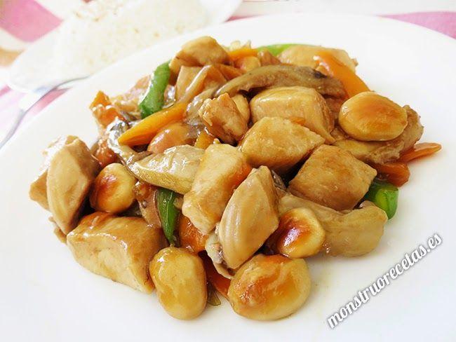 Pollo con almendras. Receta china                                                                                                                                                                                 Más