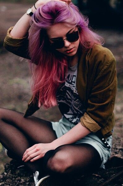 • photography red hair girl fashion hipster vintage boho indie Grunge blue pink purple glasses urban color pastel grunge fashion hipster fashion 90ssonata •