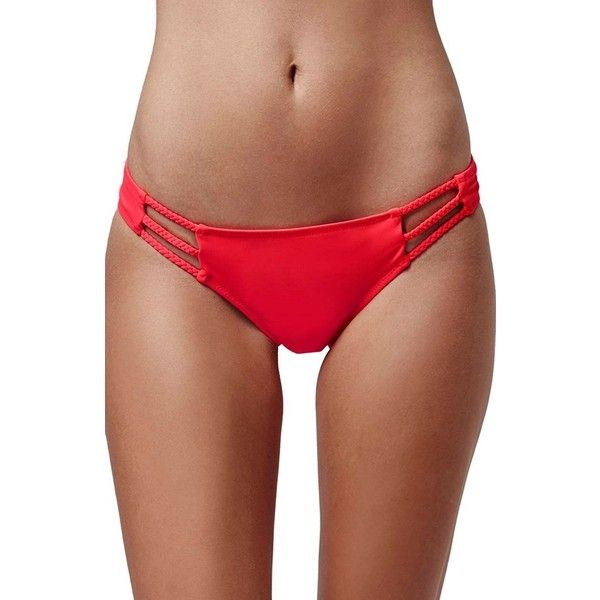 Topshop Braided Cutout Bikini Bottoms (63 PEN) ❤ liked on Polyvore featuring swimwear, bikinis, bikini bottoms, red, cutout swimwear, bohemian bikini, cutout bikini bottom, bohemian swimwear and topshop swimwear