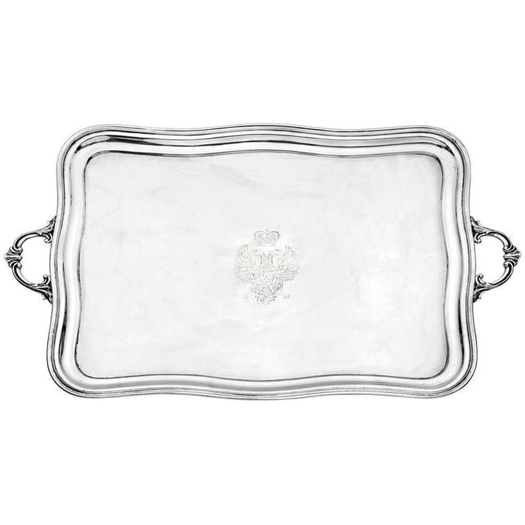 Antique Russian Silver Serving Tray | From a unique collection of vintage platters and trays at https://www.1stdibs.com/jewelry/silver-flatware-silverplate/platters-trays/