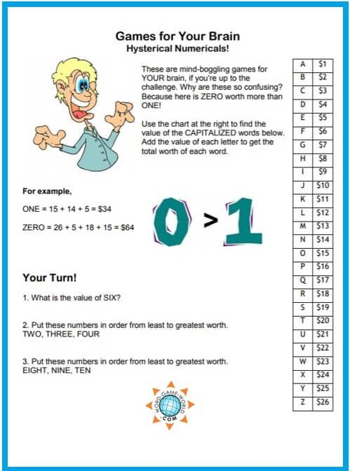 "games for your brain fun, funny and challenging! fun brain gamesgames for your brain, ""hysterical numericals!\"" these fun brain teasers will make you think hard about words and numbers find more fun braingames at"