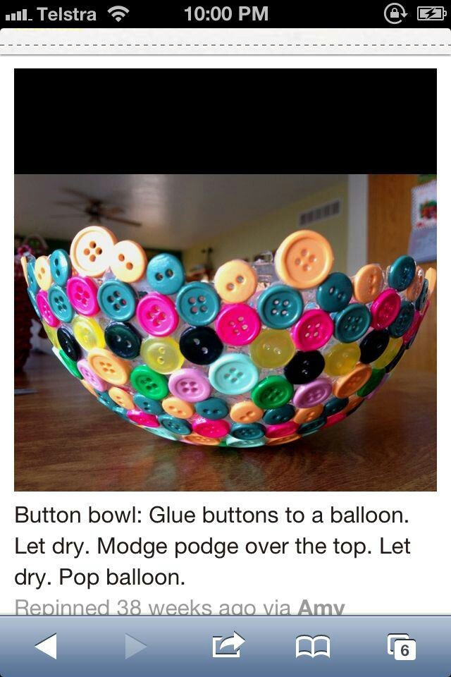 Make a bowl out of buttons... fun! :-)