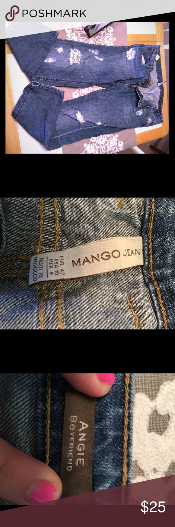FROM SPAIN: Blue Mango BF Jeans Blue ripped/ distressed boyfriend jeans from a trip to Spain. Bought there and only worn once or twice since! Super one of a kind and stylish!!! :) Size 10 USA. Mango Jeans Boyfriend