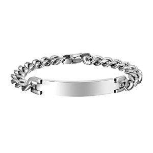 Contever® Bijoux Fashion Titanium en Acier Inoxydable Bracelet Wristband pour Les Hommes dans la Chaîne Gourmette Poli Couleur Argent 21,2…