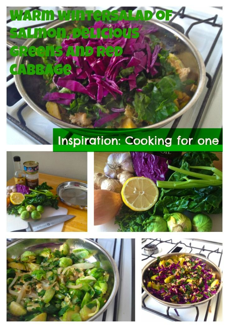 #Cooking for one. Another quick, easy, nutritious, one pan recipe for one person. Making the most of winter vegetables is is a delicious warm salad of salmon, brussel sprouts, red cabbage and spinach.