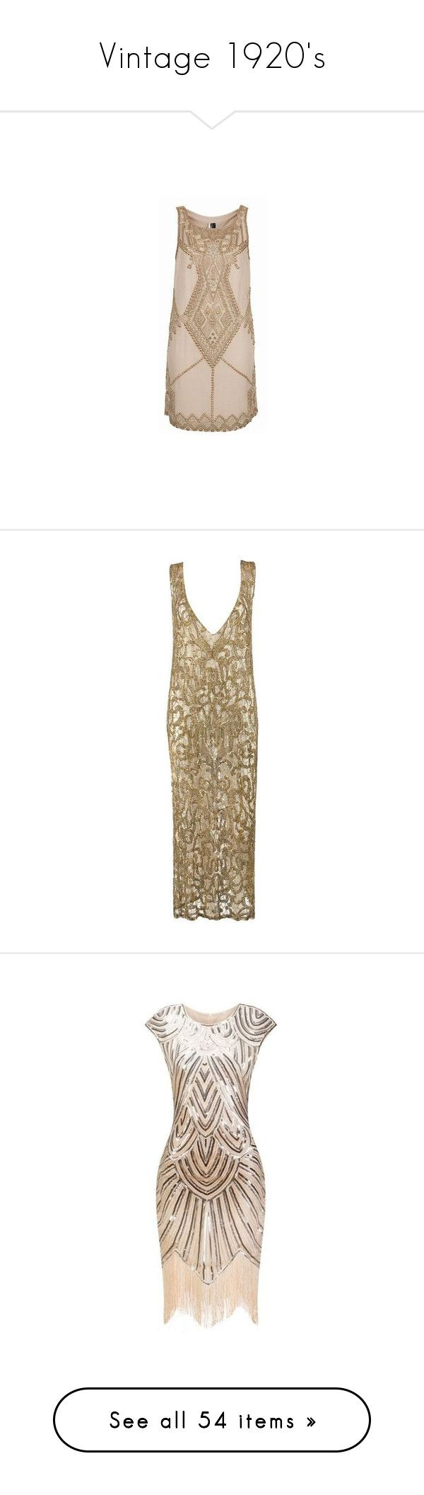 """Vintage 1920's"" by okcini9 ❤ liked on Polyvore featuring dresses, vestido, short dresses, vintage, vestidos, brown, evening dresses, gold sequin cocktail dresses, gold dresses and flapper dresses"