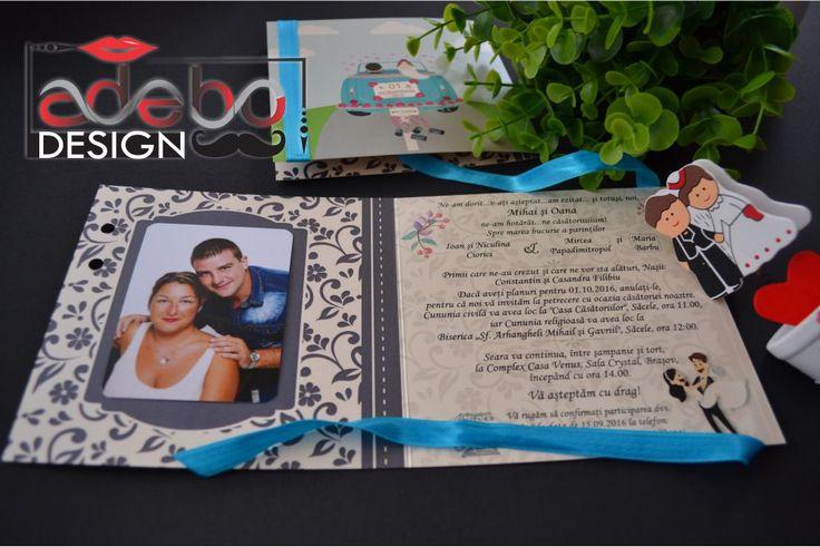 Invitatie nunta cu tema calatorie, invitatie nunta eleganta, printata pe carton sidefat, invitatie nunta cu poza mirilor in interior. Cauti invitatii de nunta handmade?