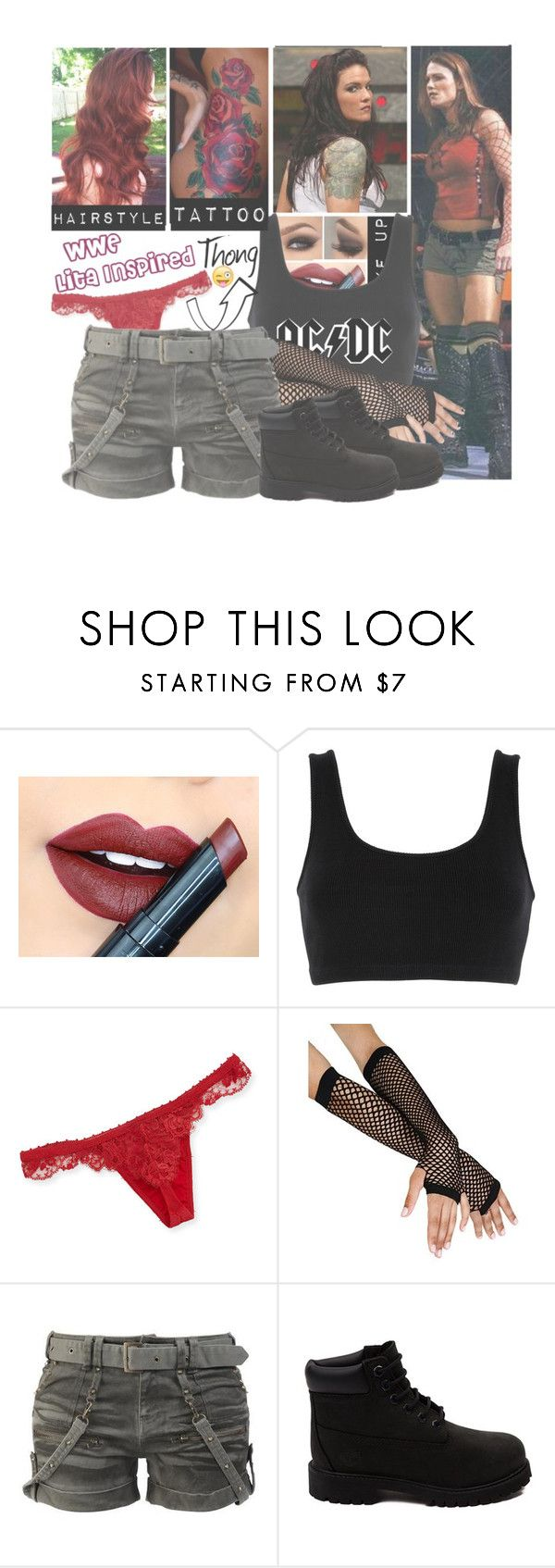 """WWE Lita Inspired"" by basket-case47 ❤ liked on Polyvore featuring Fiebiger, adidas Originals, La Perla and Timberland"