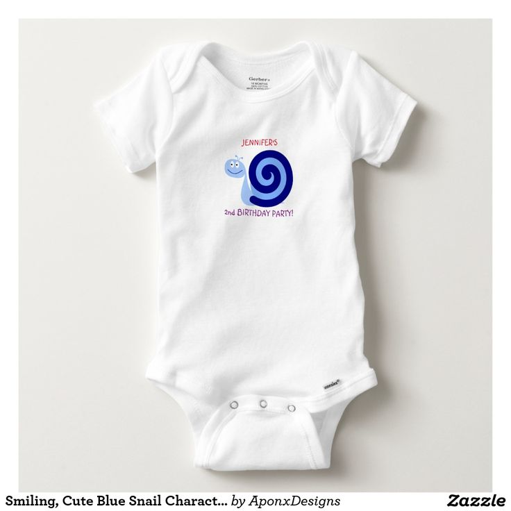 Smiling, Cute Blue Snail Character + 2nd Birthday