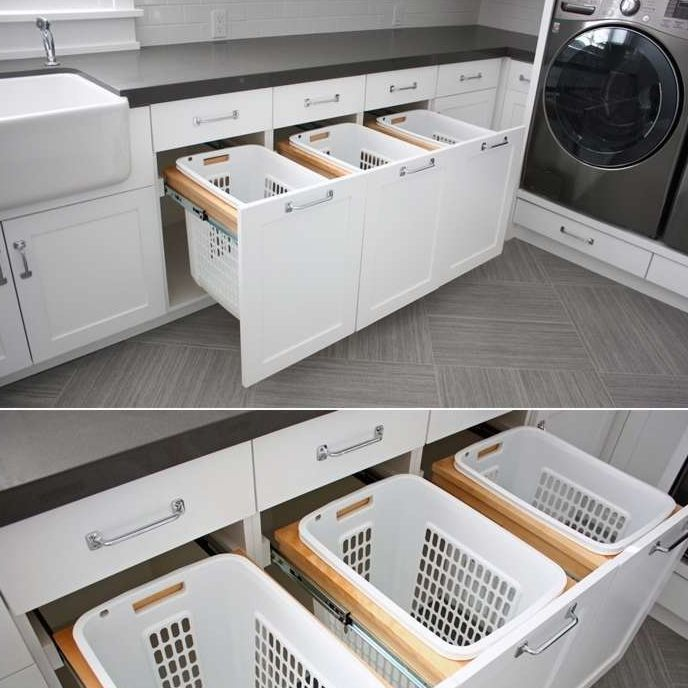 "1,198 Likes, 59 Comments - The Organised Housewife (@organised_house) on Instagram: ""Clever way to save space in your laundry is with pull-out basket drawers for your dirty washing. …"""