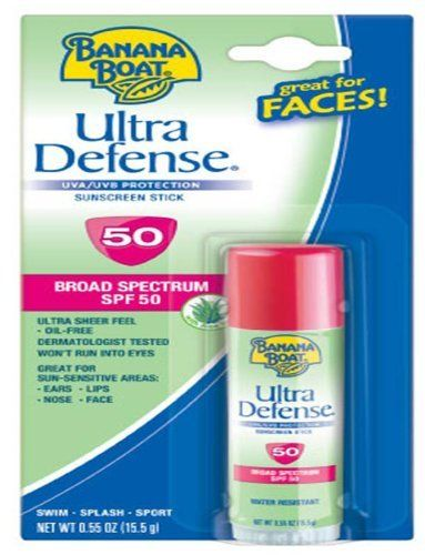 Banana Boat Ultra Defense Faces Sunblock Stick  Spf 50, .55-Ounce (Pack of 4) by Banana Boat. $15.00. Ideal for under makeup. Offers quick protection for those vulnerable spots ? eyes, nose, lips and face. Pack of 4 .55-ounce sticks (total of 2.2-ounces). Sweat and water resistant. Banana Boat Ultra Defense Sunscreen SPF 50 Stick offers quick protection for those vulnerable spots - eyes, nose, lips and face. It's ideal for under makeup. Look good and know you're covered.