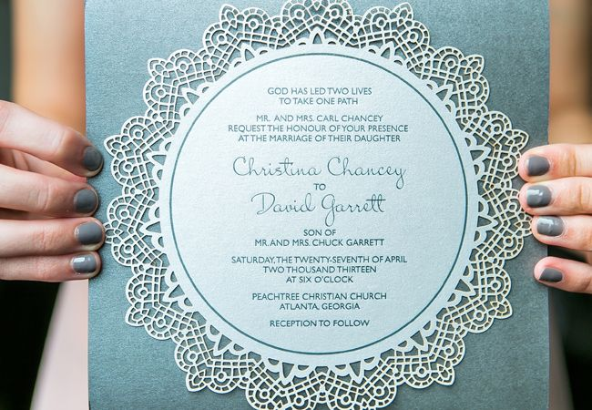 Laser-cut invitations // Carla Gates Photography // http://blog.theknot.com/2013/12/10/this-glittery-cake-shines-at-historic-atlanta-venue/