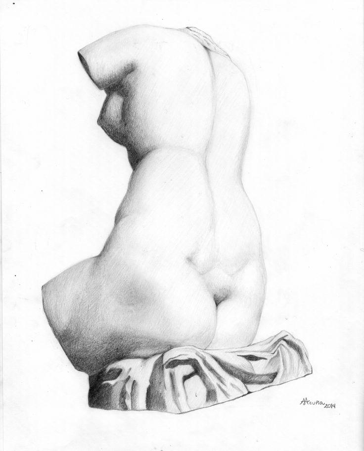 Curso de dibujo Charles Bargue. Torso femenino. Lápiz sobre papel.