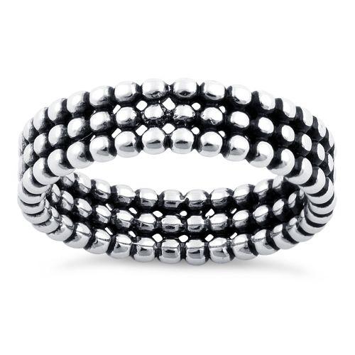 Sterling Silver Triple Bead Eternity Ring