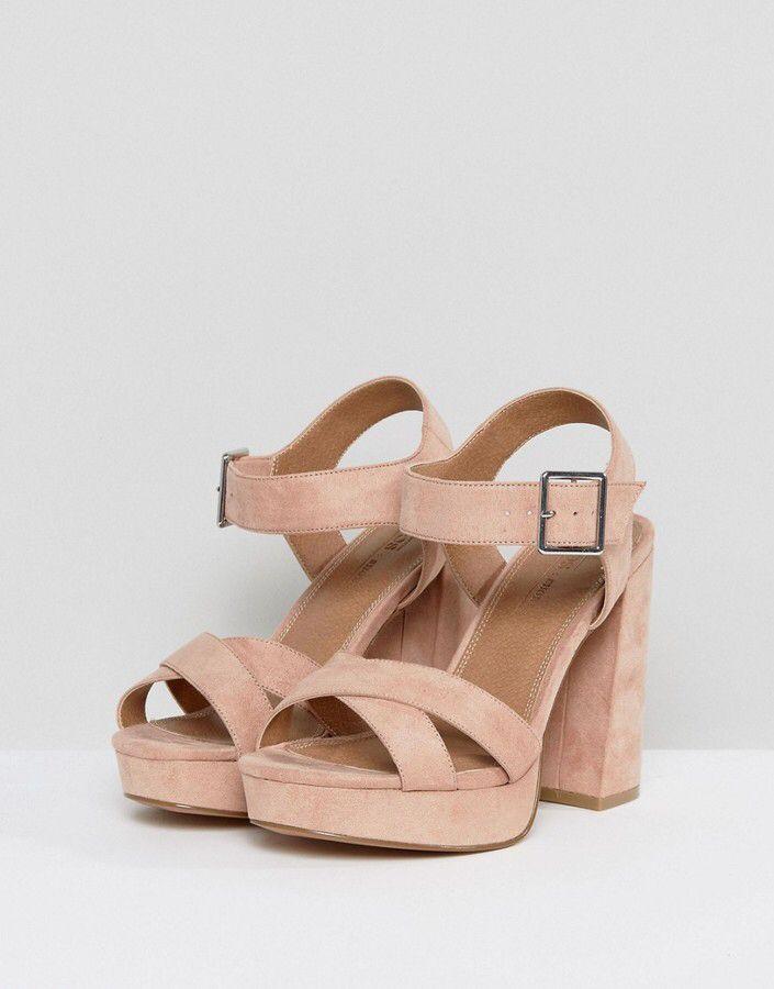 HEARTS Wide Fit Platform Sandals - peach/beige