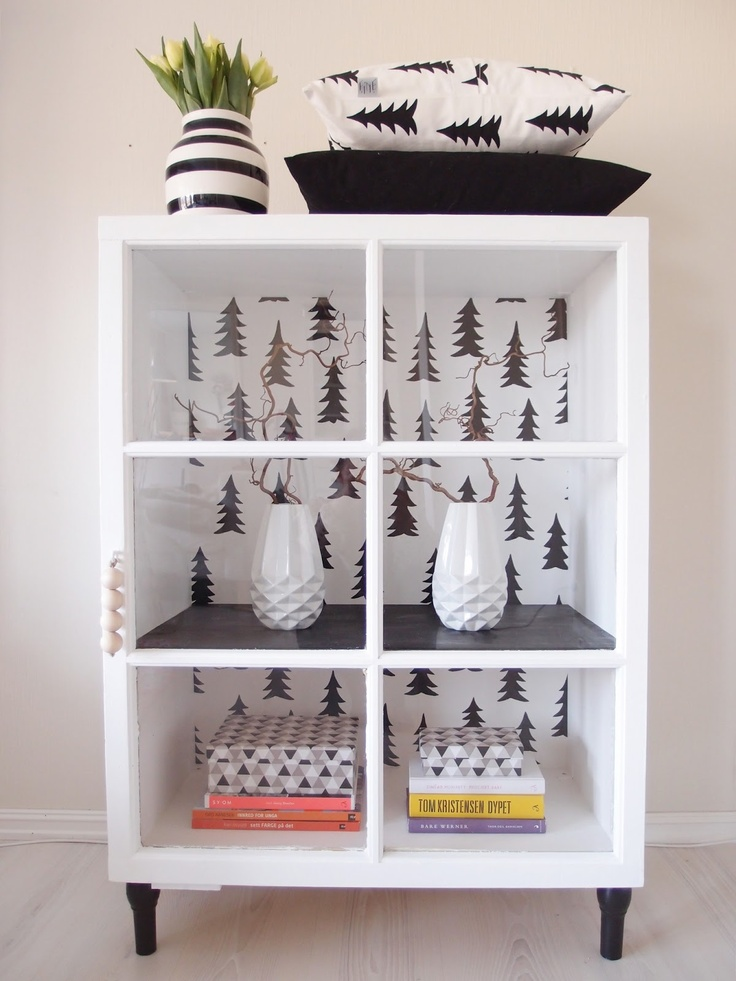 """Beautiful cabinet with our wallpaper """"Spruce"""" found in Norwegian blog My Dream."""