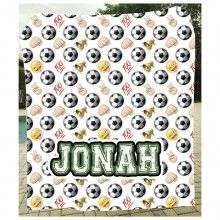 Emoji Soccer Blanket $84 Personalized for your kid