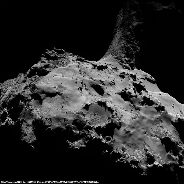 Comet 67P/C-G on 4 July 2016, viewed with Rosetta's OSIRIS wide-angle camera, 13.3 km away. The full comet measures about 4 km across, and this image measures about 2.6 km.  http://www.esa.int/spaceinimages/Images/2016/07/Comet_on_4_July_2016_OSIRIS_wide-angle_camera  Credits: ESA/Rosetta/MPS for OSIRIS Team MPS/UPD/LAM/IAA/SSO/INTA/UPM/DASP/IDA