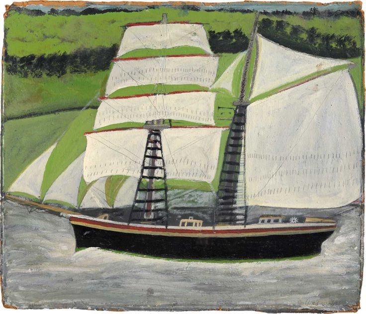 Alfred Wallis -  Brigantine sailing past green fields, n.d.    Painting,  Reserve collection,  Oil on card,  418 x 488 mm
