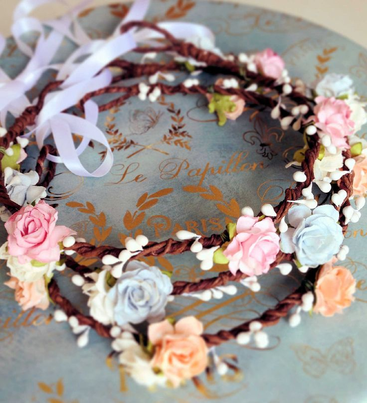 Pink Floral Crown Pale Pink and White Rose Flower Crown