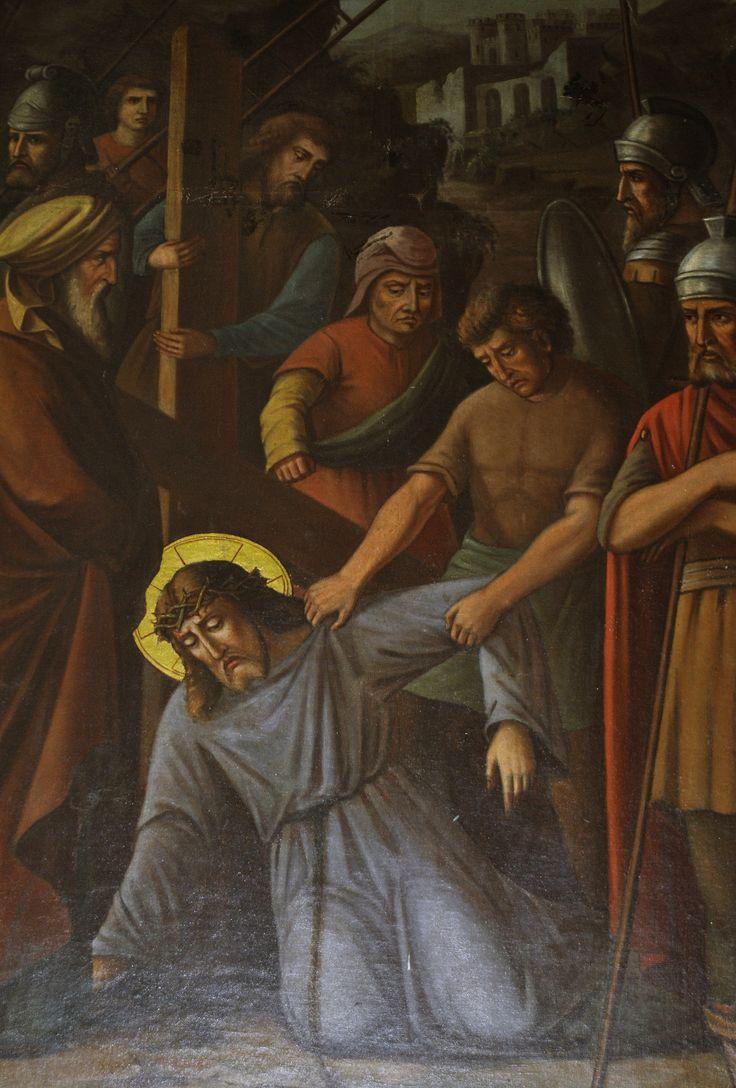 Lukisan Yesus jatuh ke  3 kalinya . Gereja Katolik Hati Kudus Yesus - Malang, Jawa Timur