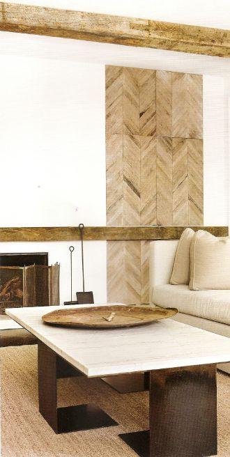 Wood laid as wall tile. Chevron pattern. Via http://delightbydesign.blogspot.com/2013/01/a-fresh-start.html