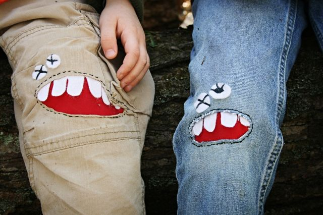 ~SO glad I procrastinated on those pants of Ethan's! I'm doing this instead!~ DIY Monster Knee Patches! Tutorial....fun way to mend those torn pants...