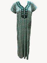 Sleepwear Embroidered Nightgown Maxi Cotton Dress Green Boho Gypsy Caftan