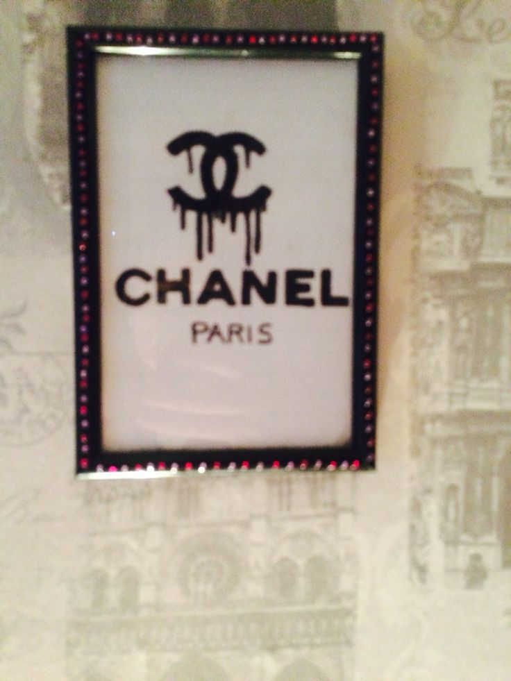 Handmade Chanel sign in a simple photo frame with diamonds around the edge. Perfect for teen girl bedrooms.